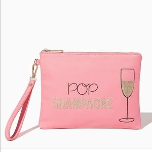 NWT Pop Champagne Glitter Oversized Wristlet